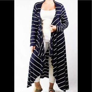 Plus Size Navy Open Front Stripe Cardigan